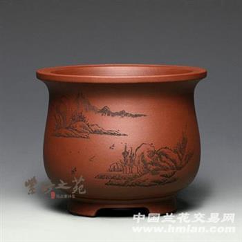 宜兴紫砂花盆兰花花盆中号圆形陶瓷花盆吊兰图片
